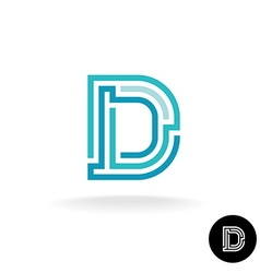 Letter D technical logo Line elements style vector
