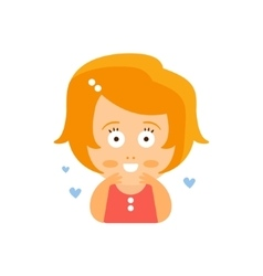 Little Red Head Girl In Red Dress In Love Blushing vector image