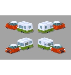 Low poly red hatchback with green-white motor home vector image vector image