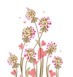 meadow flowers with hearts on a white background vector image