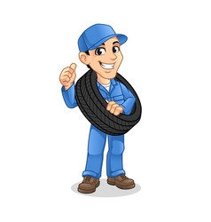 mechanic man carrying tire with a thumbs up vector image