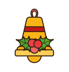 merry christmas bell holly berry celebration vector image