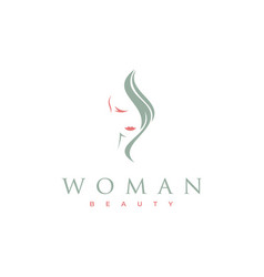 minimalist beauty woman and hair logo design vector image
