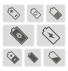 Monochrome icons with batteries vector
