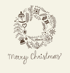 monochrome merry christmas circle frame vector image