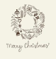 monochrome merry christmas circle frame vector image
