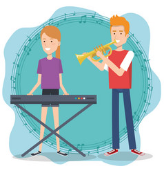 music festival live with couple playing piano and vector image
