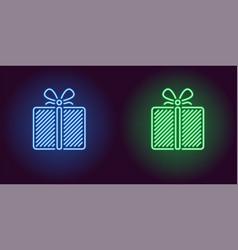 neon icon of blue and green gift box vector image