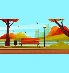 Park landscape view autumn or fall scenery vector