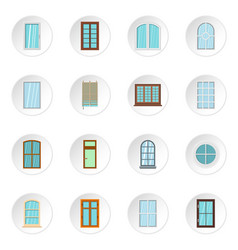 plastic window forms icons set in flat style vector image