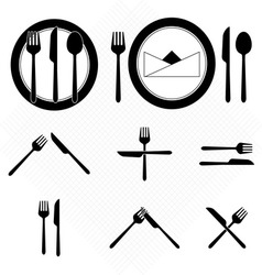 Plate icons with fork and knife sign vector image