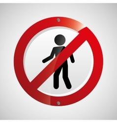 prohibited traffic sign person round icon design vector image