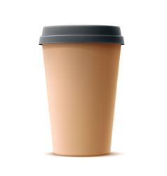 realistic cardboard coffee cup mock up vector image