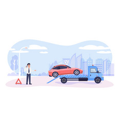 roadside assistance concept broken car on tow vector image