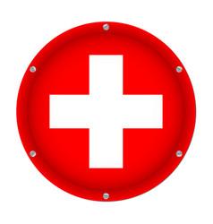 round metallic flag of switzerland with screws vector image