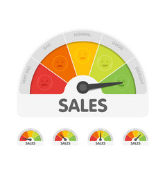 Sales meter with different emotions measuring vector