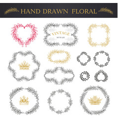 set hand drawn flowers and branches vector image
