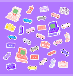 sets 80s stickers vector image