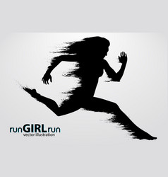 Silhouette a running female vector