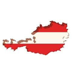 silhouette map of austria and colors flag inside vector image