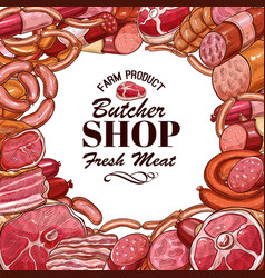 Sketch meat products for butcher shop vector