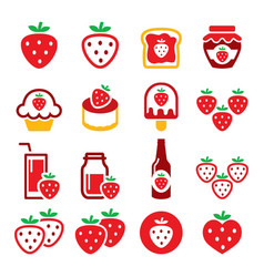 strawberry fruit red icon set - healthy foo vector image