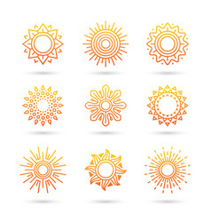 Sun icon set isolated on white background vector