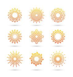 sun icon set isolated on white background vector image