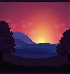 Sunset landscape hills and mountains vector