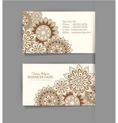 template business card with ethnic pattern vector image