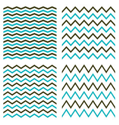 Tile seamless pattern set with blue and black zigs vector