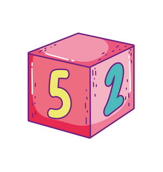 Toy cube number block learn icon vector