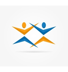 Two people silhouettes reaching up logo vector image