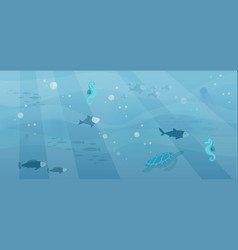 underwater fauna with fishes seaweed sea horses vector image
