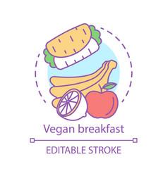 vegan breakfast concept icon organic food idea vector image