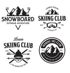 vintage ski or winter sports logos badges vector image