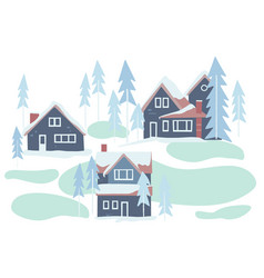 winter snowy houses and nature vector image
