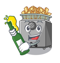 With beer deep fryer machine isolated on mascot vector