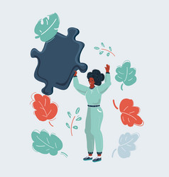 woman with big puzzle piece on white vector image
