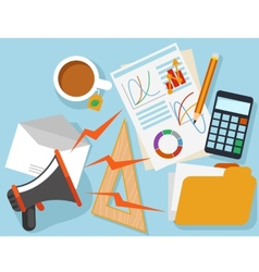 Workplace with office object and documents vector image
