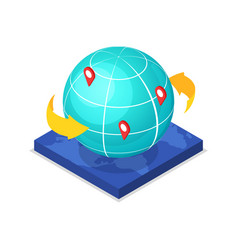 Worldwide route logistics isometric 3d icon vector