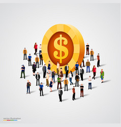crowd standing around coin vector image