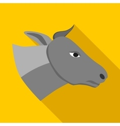 Head of gray cow icon in flat style vector image