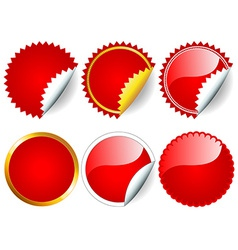 Red sticker set vector image