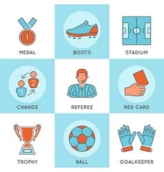 Soccer Thin Lines Color Web Icon Set vector image