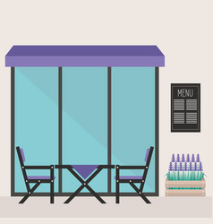 trendy hipster restaurant terrace table and vector image