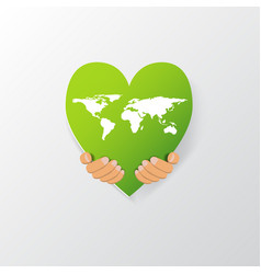 world map on heart shape vector image