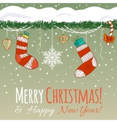 Card with Christmas decoration gifts in socks vector image vector image