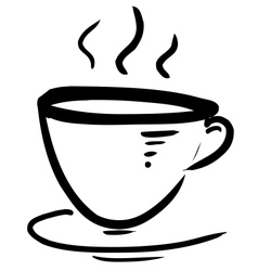 Cup with steam stylized vector image
