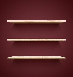 Empty wooden shelves vector image